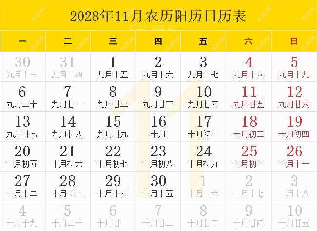 2028年11月农历阳历日历表