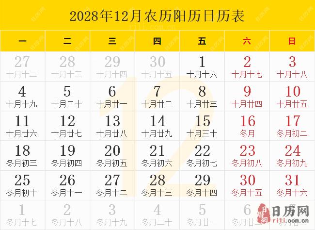 2028年12月农历阳历日历表