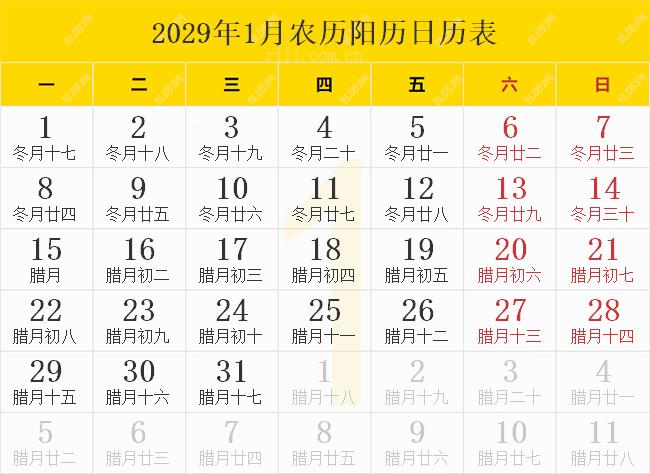 2029年1月农历阳历日历表