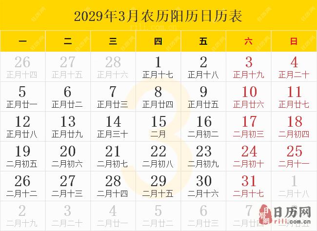 2029年3月农历阳历日历表