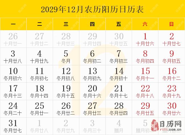 2029年12月农历阳历日历表
